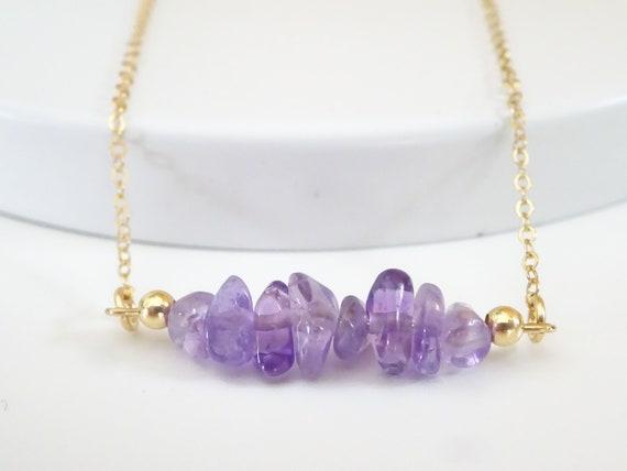 Crystal Amethyst February Birthstone Gift. Soft Lilac Amethyst Pendant Crystal Necklace