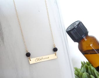 Custom name bar necklace, Diffuser bar Necklace, Aromatherapy Jewelry, Diffusing Necklace, Lava Stone Engraved Necklace,  Monogram jewelry