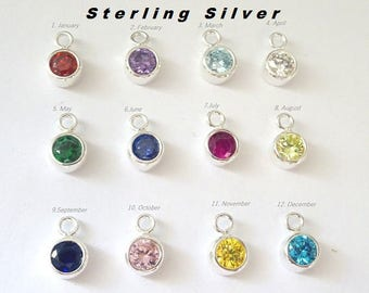 Add on Birthstone, Add a charm, birthstone charm, Sterling silver, personalized birthstone charm, Customize, Customize Your Necklace