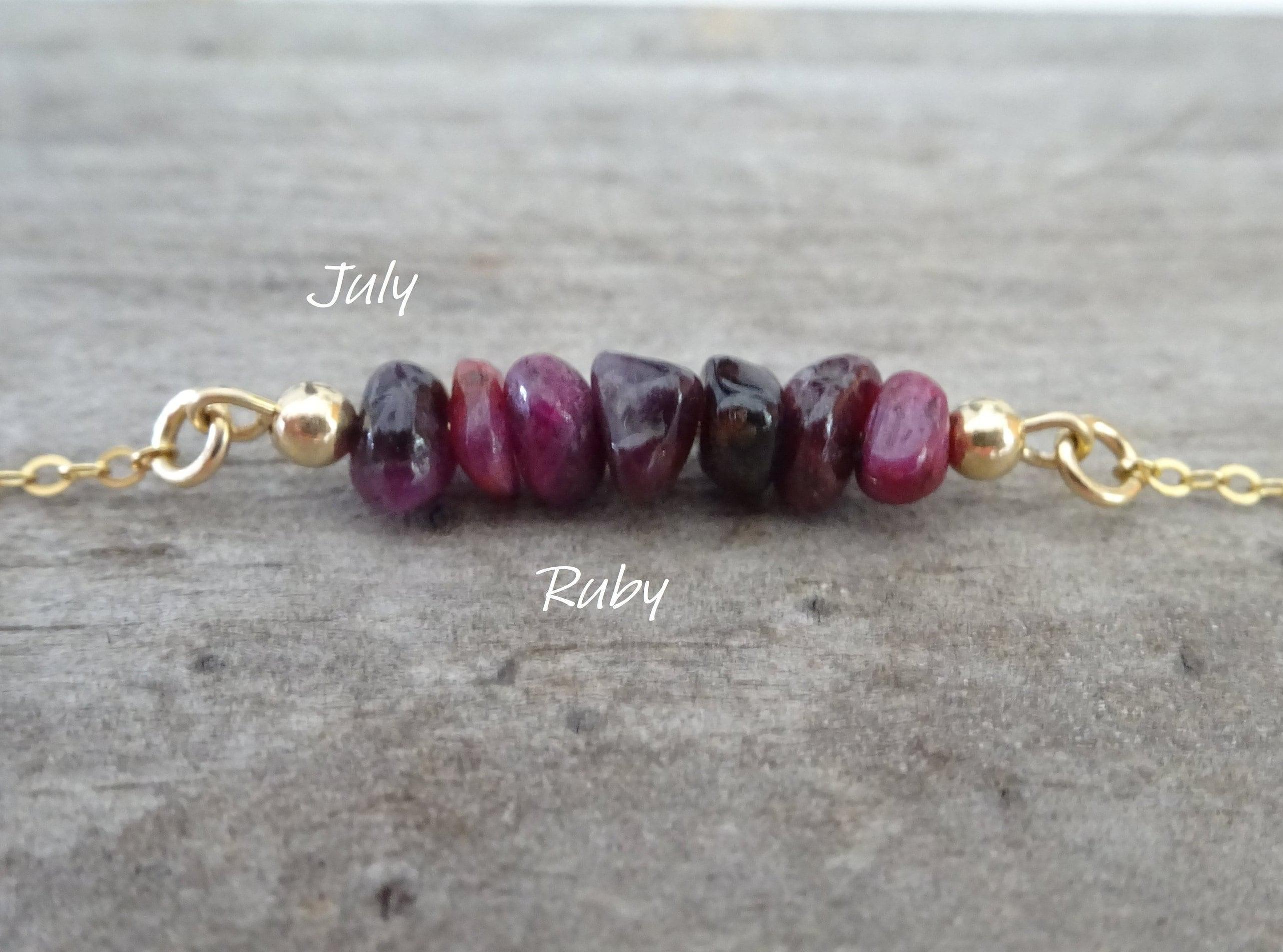 Raw Ruby Necklace July Birthstone Birthday Gift For Cancer Zodiac Gemstone Bar Stone Jewelry Healing Stones