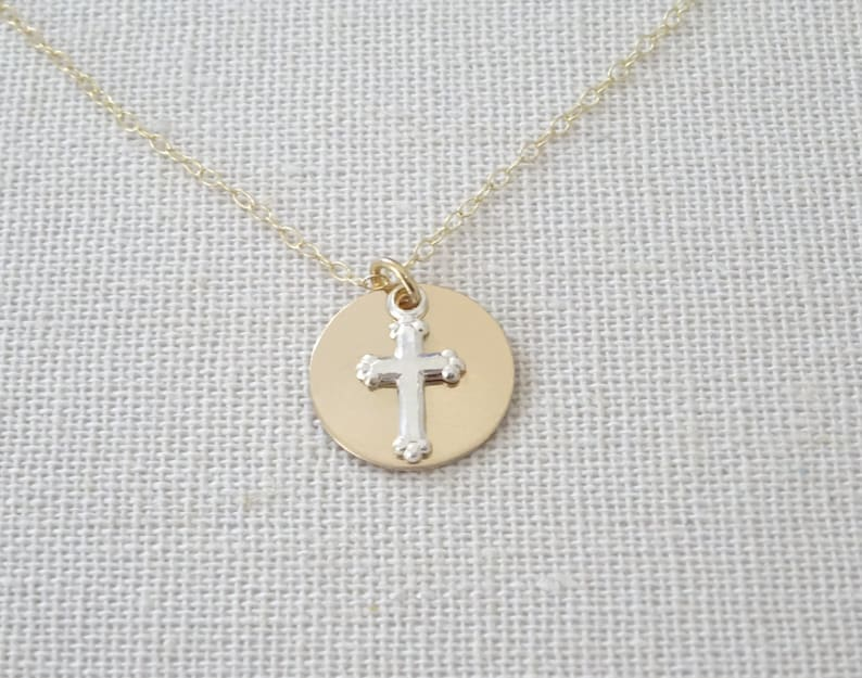 a4246ba6f471c9 Cross necklace Sterling silver cross and Gold fill disc | Etsy