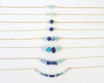 Throat Chakra Crystal Necklace, Vishuddha Chakra, Bead Gemstone Jewelry, Natural Stone Aquamarine, Sodolite Choker, Lapis Lazuli Pendant