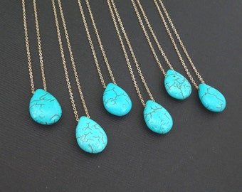 Turquoise Necklace for Women, Blue Stone Jewelry Gift for Her, Bridesmaid Jewelry Gifs