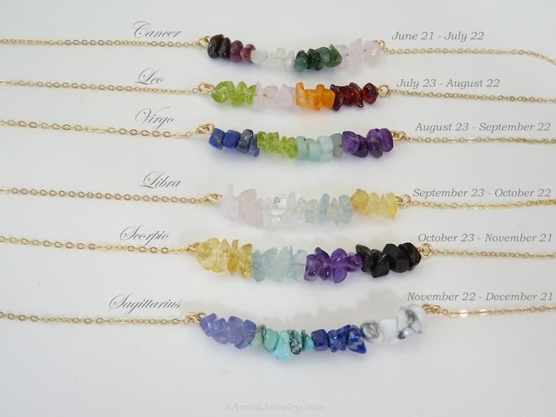 Zodiac Crystal Necklace Birthstone jewelry  Healing image 1
