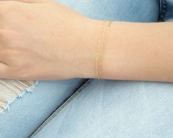 Double chain bracelet, Super dainty bracelet, Gold fill, Rose gold fill, Sterling silver layering bracelet