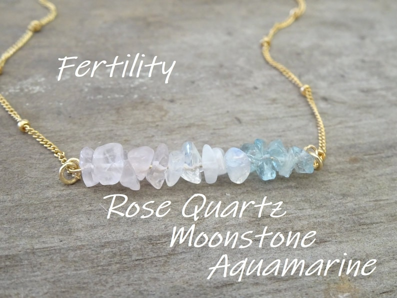 Raw stone necklace Natural healing Fertility crystals image 0