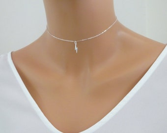 Simple Tiny Lightning bolt necklace, charm necklace, Chain Choker Sterling Silver