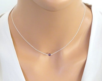 Amethyst necklace, February  birthstone jewelry, Sterling Silver Bridesmaid necklace, zodiac jewelry,  Christmas gifts