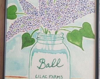 Watercolor Print in Magnetic Frame - 'Lilac Jar'
