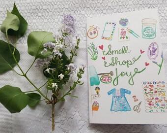 Watercolor Card 'Small Shop Joy'