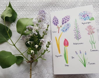 Watercolor Card 'Purple Flowers'