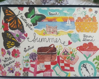 Watercolor Print in Magnetic Frame - 'Summer'