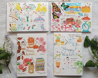 Watercolor Cards 'Seasonal Collection' - set of 4 cards