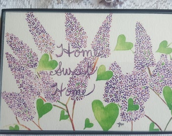 Watercolor Print in Magnetic Frame - 'Home Sweet Home'