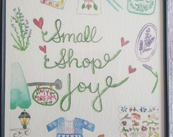 Watercolor Print in Magnetic Frame - 'Small Shop Joy'
