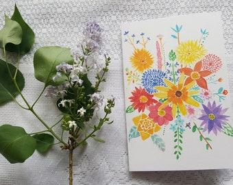 Watercolor Card 'Butterfly Flowers'