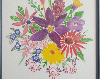 Watercolor Print in Magnetic Frame - 'Portsmouth Flowers'