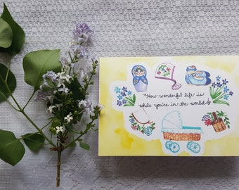 Watercolor Card 'Wonderful Baby'