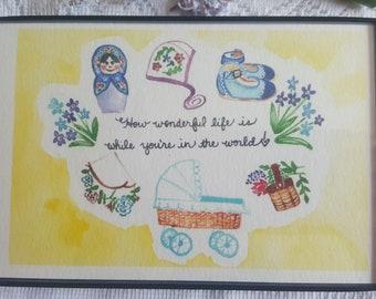 Watercolor Print in Magnetic Frame - 'Wonderful Baby'