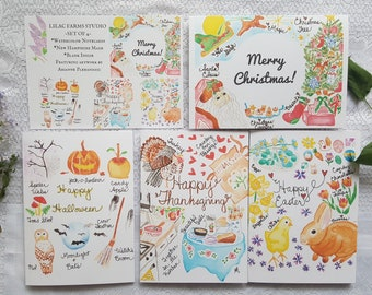 Watercolor Cards 'Holiday Collection' - set of 4 cards