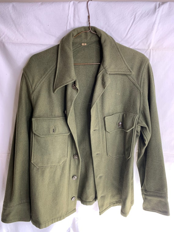 Military Green Wool vintage shirt