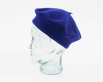 Vintage Blue Beret - Wool - Winter Cap