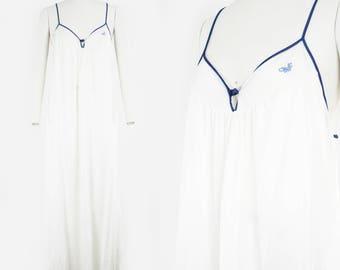 furstenberg gown etsy 1970 Prom Attire vintage white blue slip diane von furstenberg v neck lingerie night wear lounge wear night gown medium