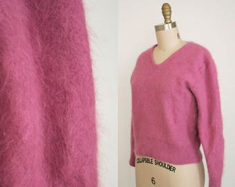 Vintage Pink Angora V Neck Sweater - Mauve Pink Pull over - Fuzzy Fluffy 80% Angora - Long Sleeve -Womens' Large