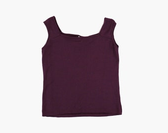 48e624682afffe Vintage 1990s Tank Top - Square Neck - Purple - Stretchy - Medium - Minimal  - Tee Shirt - Blouse - Muscle Tank