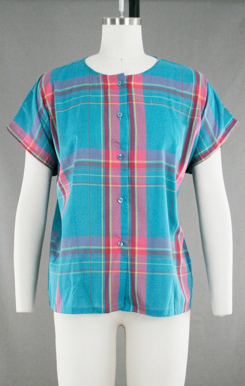 Extra Large XL Blue Pink Crew Neck Cotton Vintage 1960s Plaid Button Down JC Penny Button Up Short Sleeve
