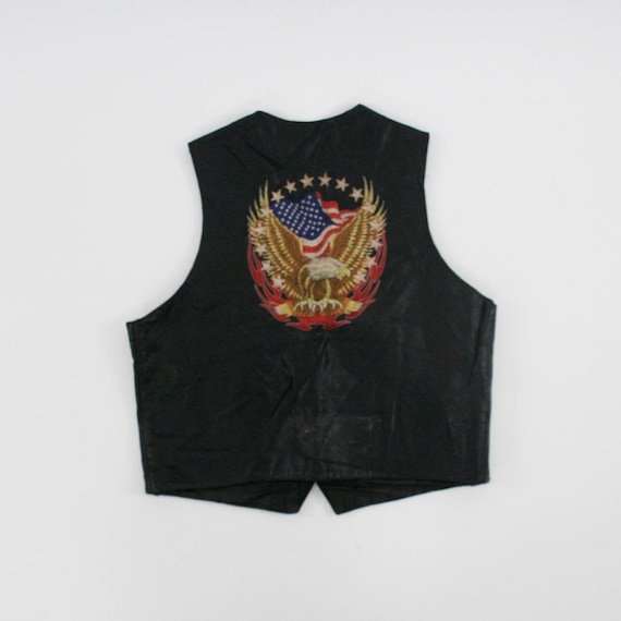 Button Flag XXL Leather Patch Patch American Back Biker Black Vintage Flaming XL Eagle Vest w1q85nY0xO