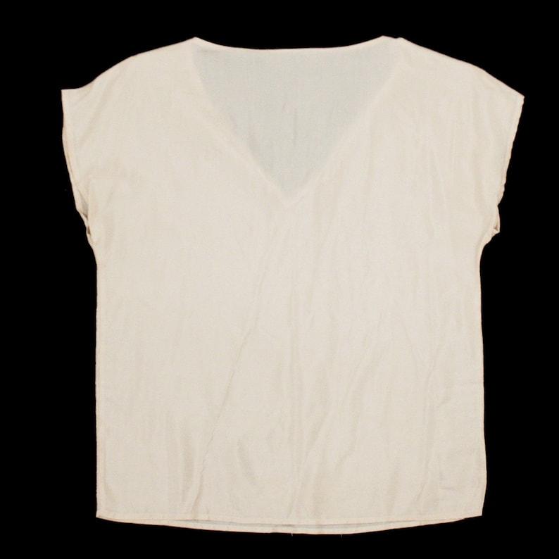 V Neck Sleeveless Large Silky Boxy Top Tee Shirt Minimal Peach Pink Loose Vintage 1990s Blouse Blouse