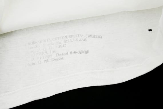 Cotton White Workwear Shirt Sleeve Undershirt Long Distressed Shirt T 1950's Vintage Work Small q7HxYY
