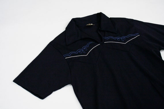 Rope Sleeve Western Navy Short Small Embroidery Medium Loops Shirt 1960s Polo Boy Cow Vintage Blue Sfx848