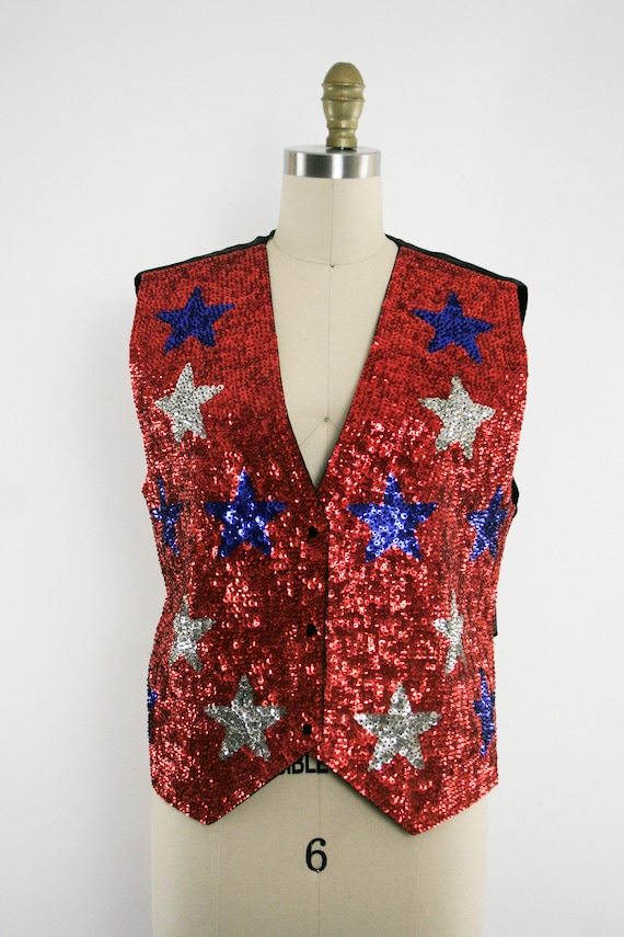 Girl Vintage Patriotic Red Vest Colorful Star Blue 1980's America Sequin Sequin Plus Large Sparkle White Show Sleeveless wqTxOIHnqC