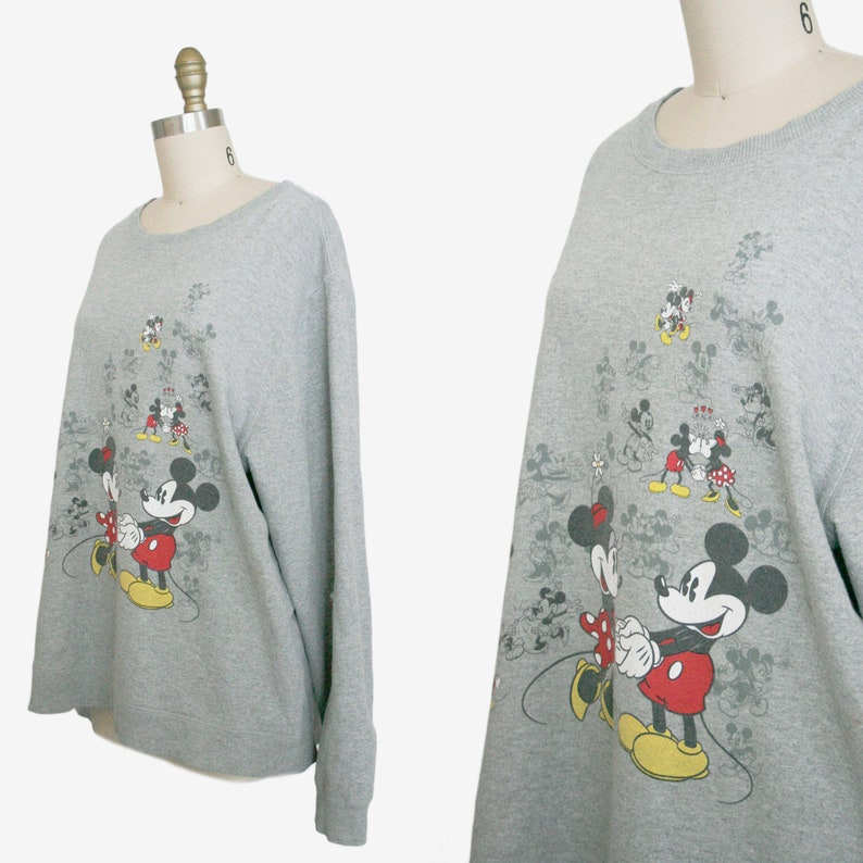 Extra Large XL Plus Volup Pullover Disney Vintage Mickey n/' Minnie Mouse Sweat Shirt Scoop Neck Gray Long Sleeve