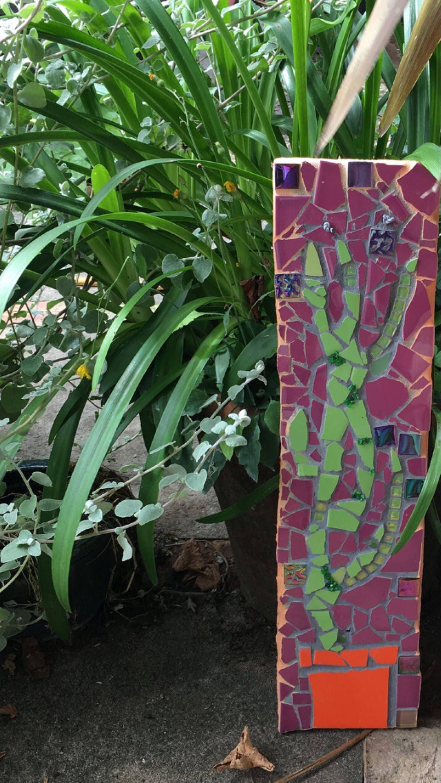 Cactus Wall Art Cactus Mosaic. Purple Mosaic. Garden Art