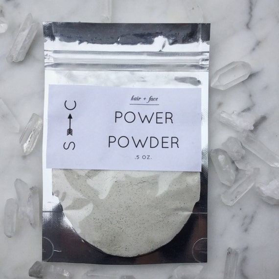 Power Powder- Herbal Setting Powder for Hair and Face- with Green Tea, Lavender and White Sage .5 oz.