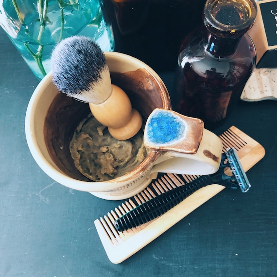 Handmade Ceramic Shaving Mug and Brush Set with Neem Nettle Shaving Soap