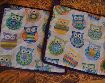 Owl Pot Holder, Owl Pot Holder Set, Pot Holder, Hot Pad Set, Owl Hot Pad, Fabric Trivet, Pastel Pot Holder, Purple Pot Holder, Kitchen linen