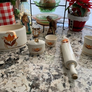 Excellent Vintage Condition Amber Footed Salt and Pepper Shakers with grape adornments for your mid-century Vintage kitchen or Bridal Shower