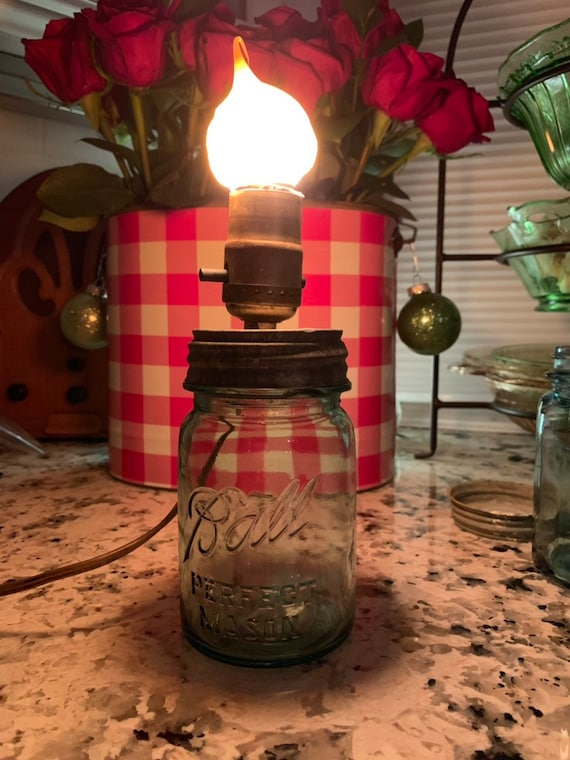 Gifts for MOMHimHer Ships Fast VINTAGE Blue Ball MASON Jar Lamp Pint Sized Rustic Farmhouse Primitive Lamp  Lighting in that Special Nook