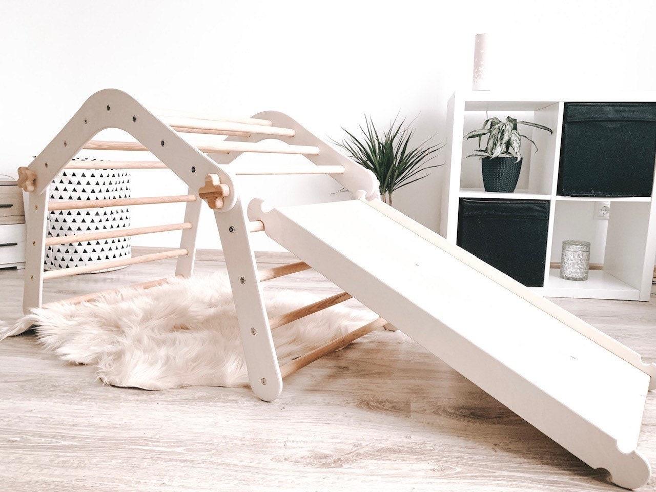PANDA ROCK witte editie, Ontwikkeling ladder, Opvouwbare activiteit ladder, Klimmer met glijbaan, Rotswand, Natuurlijke speelgoed