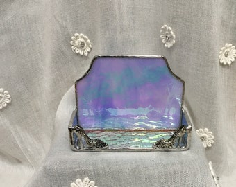 Iridescent Stained Glass Business Card Holder