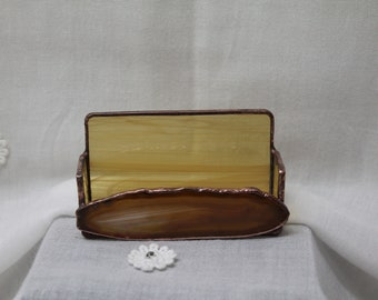 Caramel Agate Stained Glass Business Card Holder
