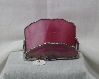 Pink Agate Stained Glass Business Card Holders
