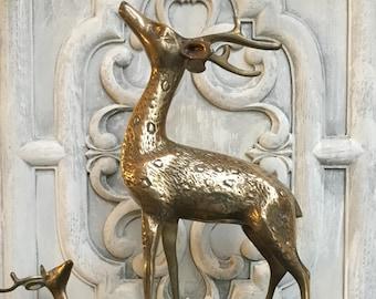 Brass Deer / Vintage Brass Deer Statue / Mid Century Brass Deer / Brass Buck Statue