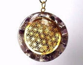 Amethyst Orgone Flower of Life Crystal Pendant (Beautifully Gift wrapped)