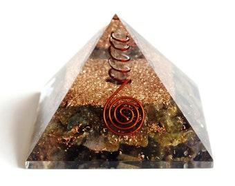 Red Jasper and Nephite Orgone Pyramid EMF Protection Healing Crystal Energy Generator Rose Quartz
