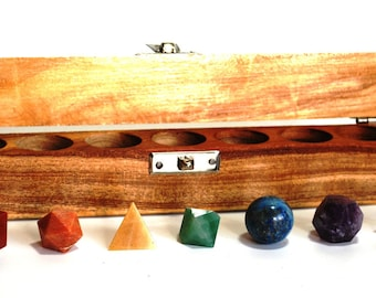 Genuine Crystal Chakra Set of 7 X Platonic Geometry Crystals In Wooden Presentation Box